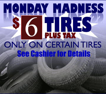 $10 plus tax on certain tires